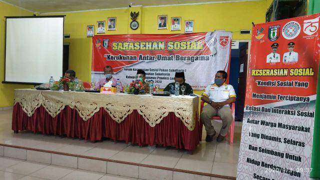 Kerukunan Antar Umat Beragama  Tema pada Saresehan Sosial Forum Keserasian Sosial Pekon Sukoharjo I Pringsewu